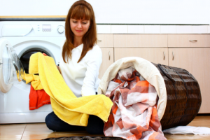 caregiver doing a laundry